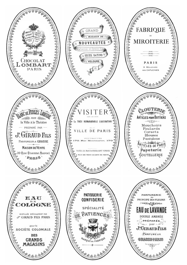 Oval French labels for DIY painted and distressed bottles