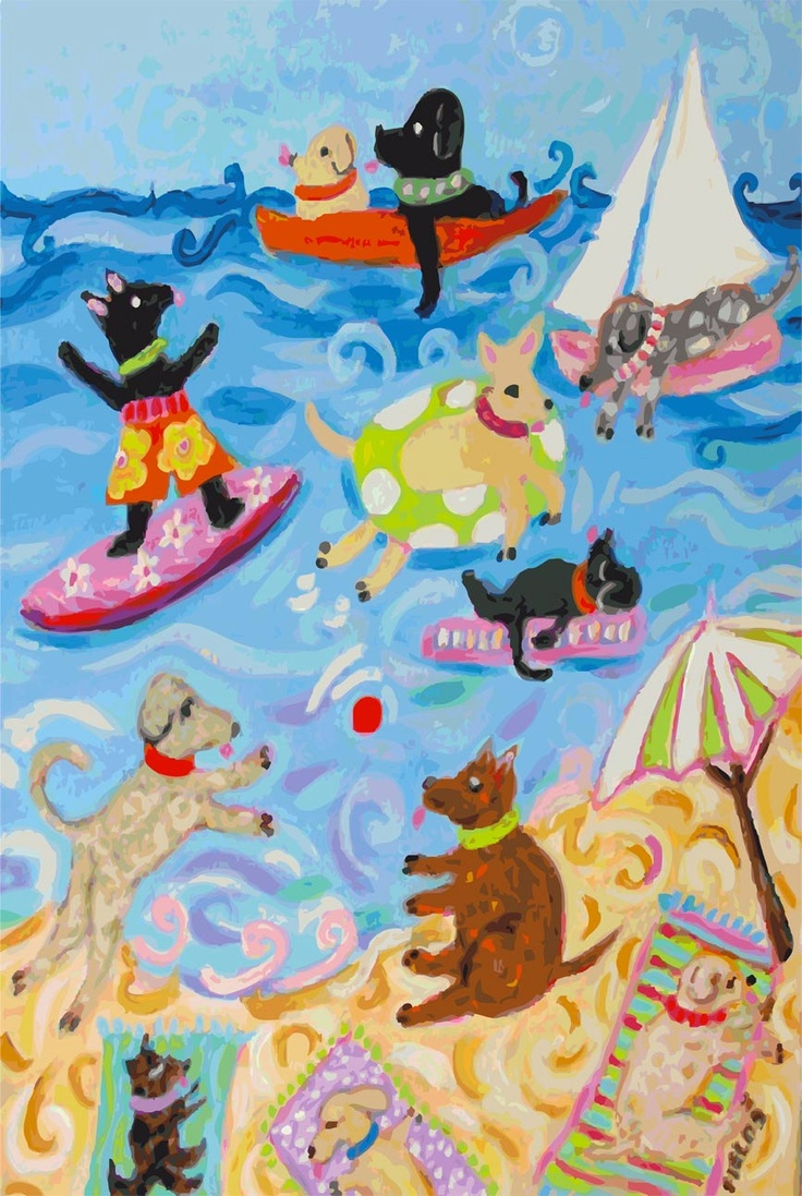 Baby Boy Nursery Art Whimsical Dog Art Print - Dogs 1- Print by Karen Fields 13 x 19. $30.00, via Etsy.