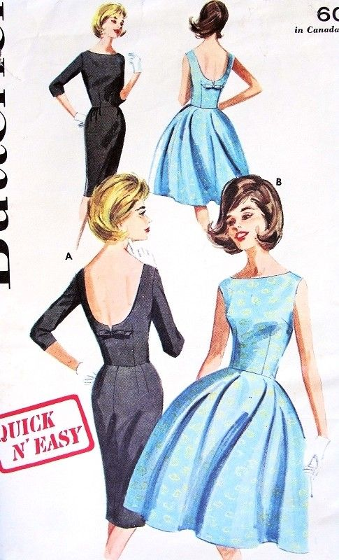 1960s Classy Mad Men Era Cocktail Evening Dress Pattern Butterick 2733 Little Black Dress Slim or Full Skirt Low Notched Back Quick n Easy Bust 31 or 32 Vintage Sewing Pattern
