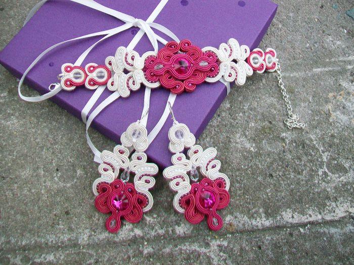 "Komplet biżuterii ślubnej sutasz ""Fuchsia & Ecru"" - Eva Sutasz"