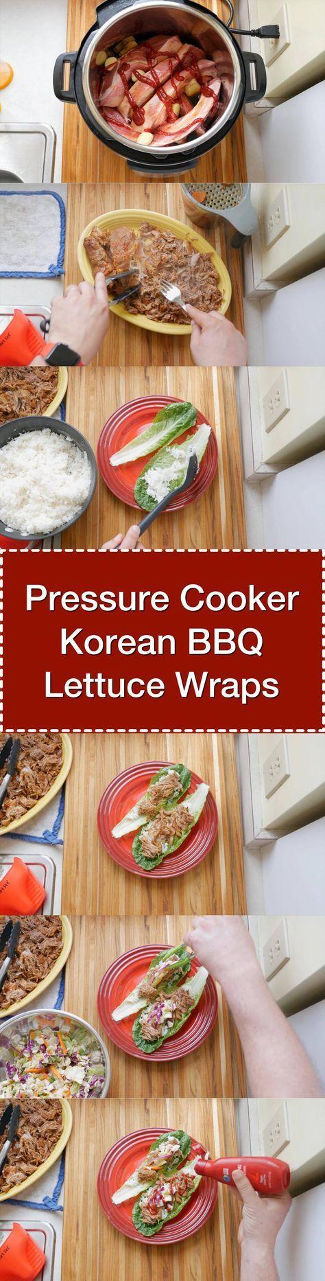 Pressure Cooker Korean BBQ Pork Lettuce Wraps - Step by step tower image | DadCooksDinner.com