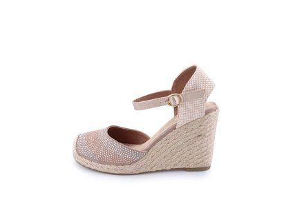 Béžové dámské flitrované sandálky na klínu Xti