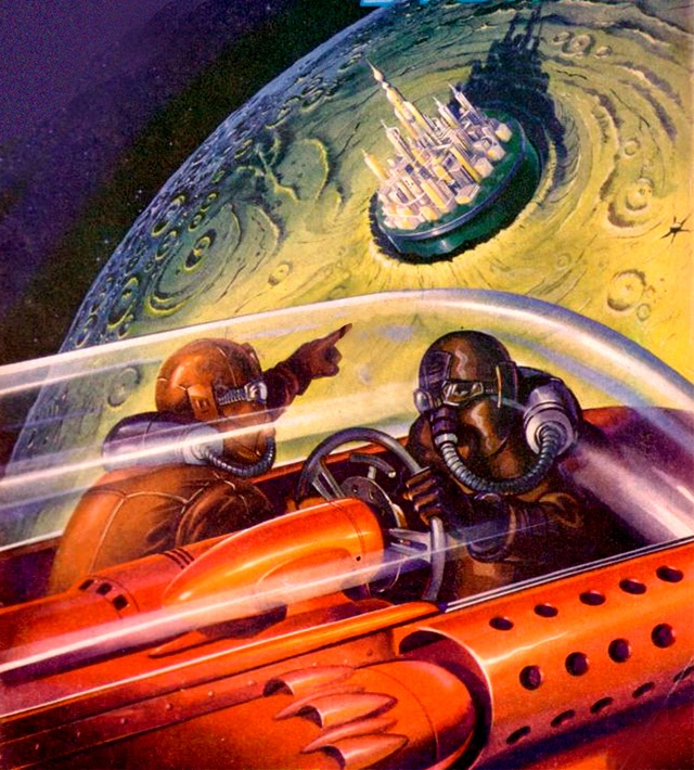 This cover for Amazing Stories, July 1947, simply bursts with excitement and sense-of-wonder