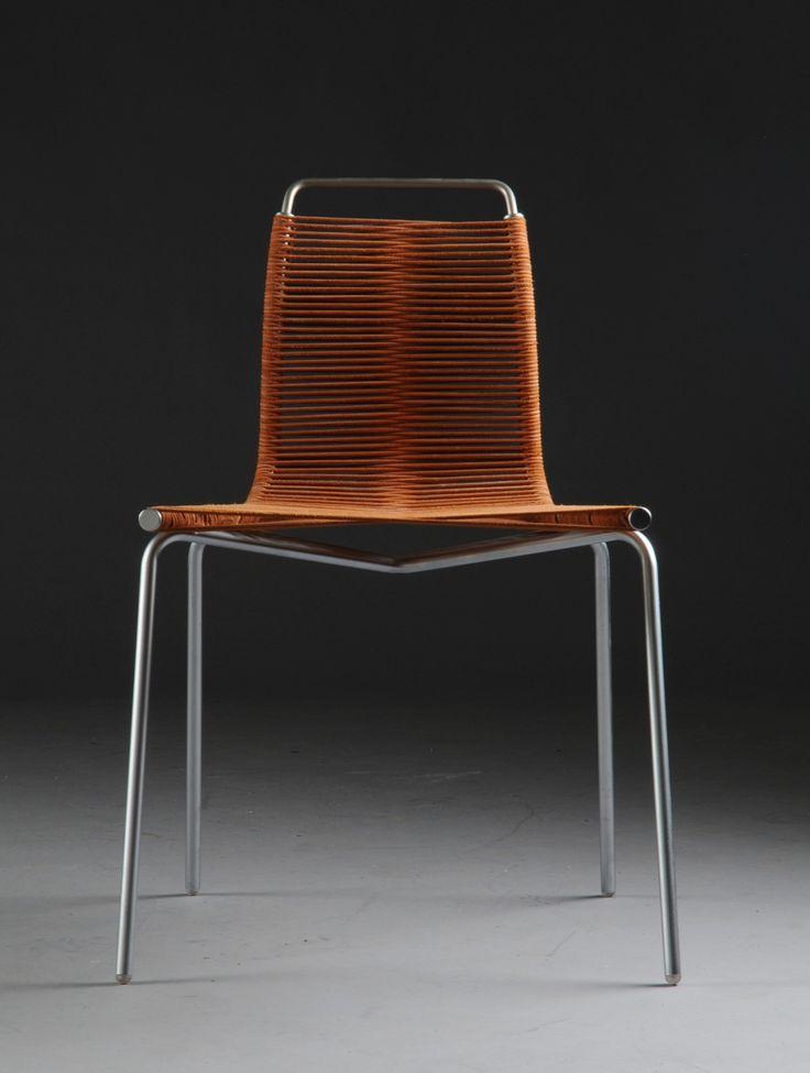 Poul Kjærholm, PK-1 chair, 1956. Satin brushed steel and flag halyard.