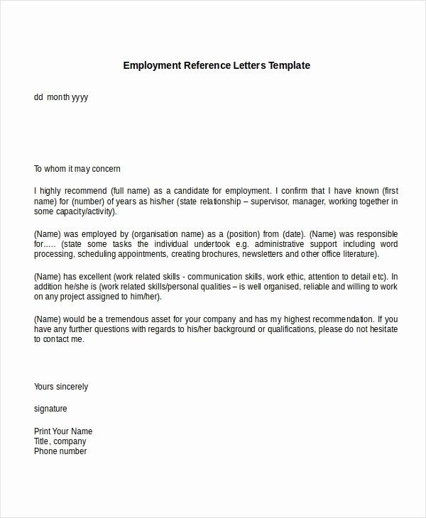 40 Reference Letter For A Job Employment Reference Letter