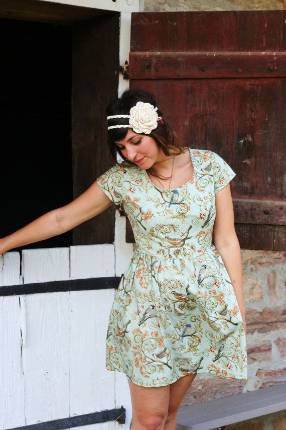 heart cut out dress handmade dress in woodland blue by kayemkay, $108.00