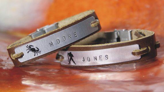 Free shipping – Personalised - men's leather bracelet - Aluminum plate - Horoscopes - Hand Stamped - Couple Bracelets