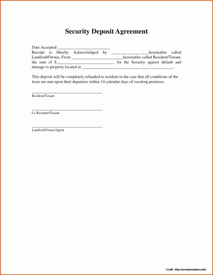 Refund Forms Template Unique Security Deposit Payment Agreement