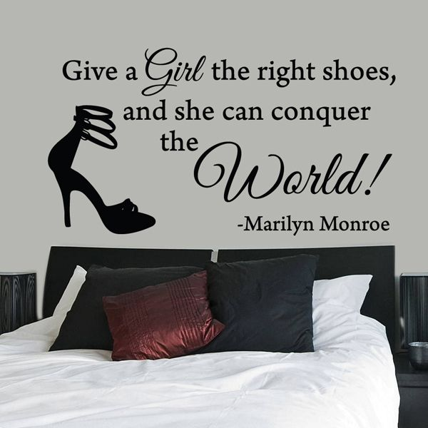 All Wall Stickers :: Give A Girl The Right Shoes Marilyn Monroe Quote Wall Sticker