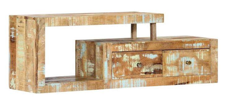 Meuble télé buffet tv télévision design pratique 120 cm bois de récupération massif – HELLOSHOP26