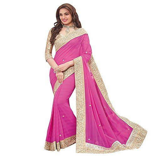 Vatsla Women's Embroidered Georgette Saree With Heavy Border Work And Blouse Piece(ORNGKLDP_ORANGE)