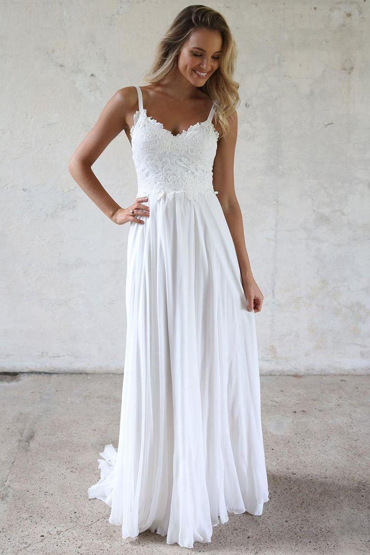 Elegant A Line V Neck Open Back White Lace Beach Wedding Dresses Simple Wedding Gown Lace Top Wedding Lace Beach Wedding Dress Lace Top Wedding Dress [ 1104 x 736 Pixel ]