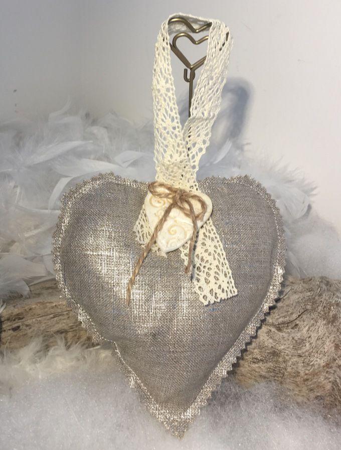 """Coeur coton enduit argenté """" fait main """"... : Accessoires de maison par mode2filles"""