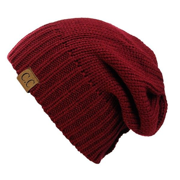 NYfashion101 Exclusive Two Way Cuff Slouch Warm Knit Ribbed Beanie ($9.99) ❤ liked on Polyvore featuring accessories, hats, slouchy beanie, knit beanie hats, slouch hat, ribbed knit beanie and saggy beanie