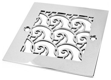 "Oceanus Waves Shower Drain in Brushed Stainless Steel/Nickel by Designer Drains. Fits an ""Oatey drain rough."" USA-made"