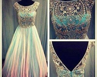 Long scoop backless beaded prom dress/ long prom dress 2014
