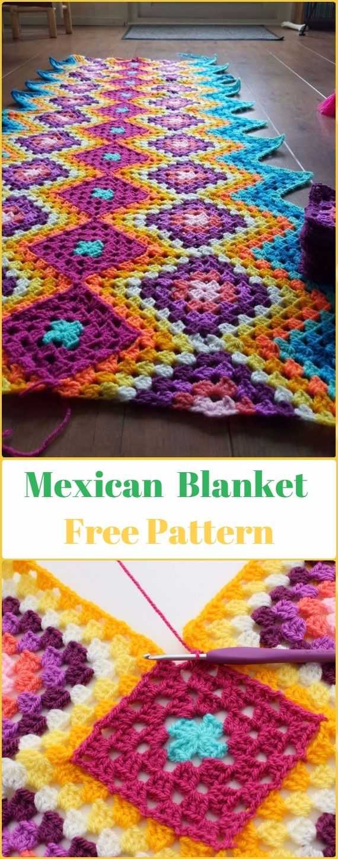 Crochet Mexican Granny Blanket Free Pattern - Crochet Block Blanket Free Patterns