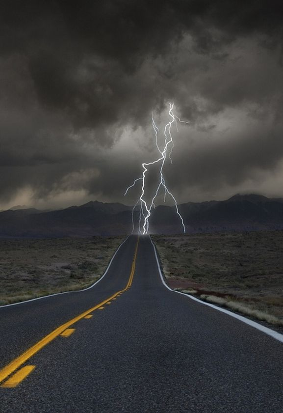 Road to thunder. Drove through lightning like this in the Siskiyous once. It was hitting 15' away. I was not ok!