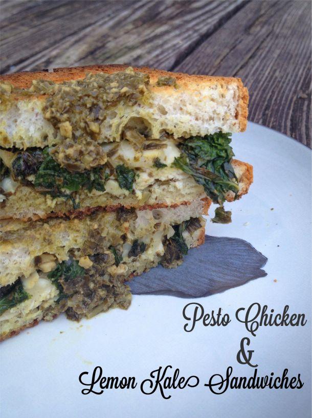 GF Pesto Chicken & Lemon Kale Sandwiches: Pesto Chicken, Chicken Lemon, Chicken Recipes, Lemon Kale, Gf Sandwiches, Sandwiches Wraps Burg, Kale Sandwiches, Sandwiches Gf, Gf Pesto