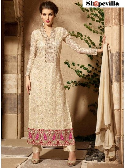 Pretty Beige Net Material Long Straight Suit With Embroidered Work-3106