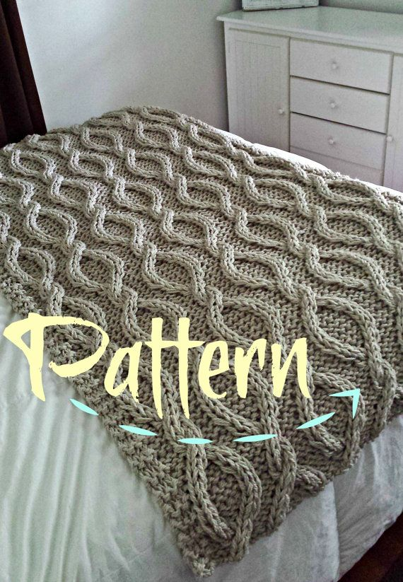 Infinity Cable Knit Blanket PATTERN by OzarksMomma on Etsy