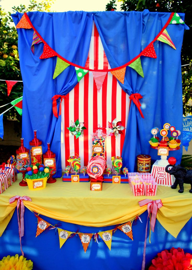 This background would be super easy with disposable tablecloths and some plywood birthday - Carnival theme decoration ideas ...