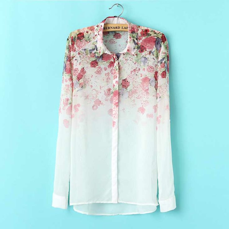 Summer Female Shirts Turn Down Collar Flower Blouse Chiffon Top 2014 Fashion Women Clothes Long Sleeve 36-42 Size FYY102
