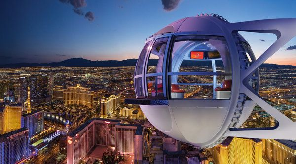 550 feet above  Las Vegas strip high rollers ferris wheel.... not for me!