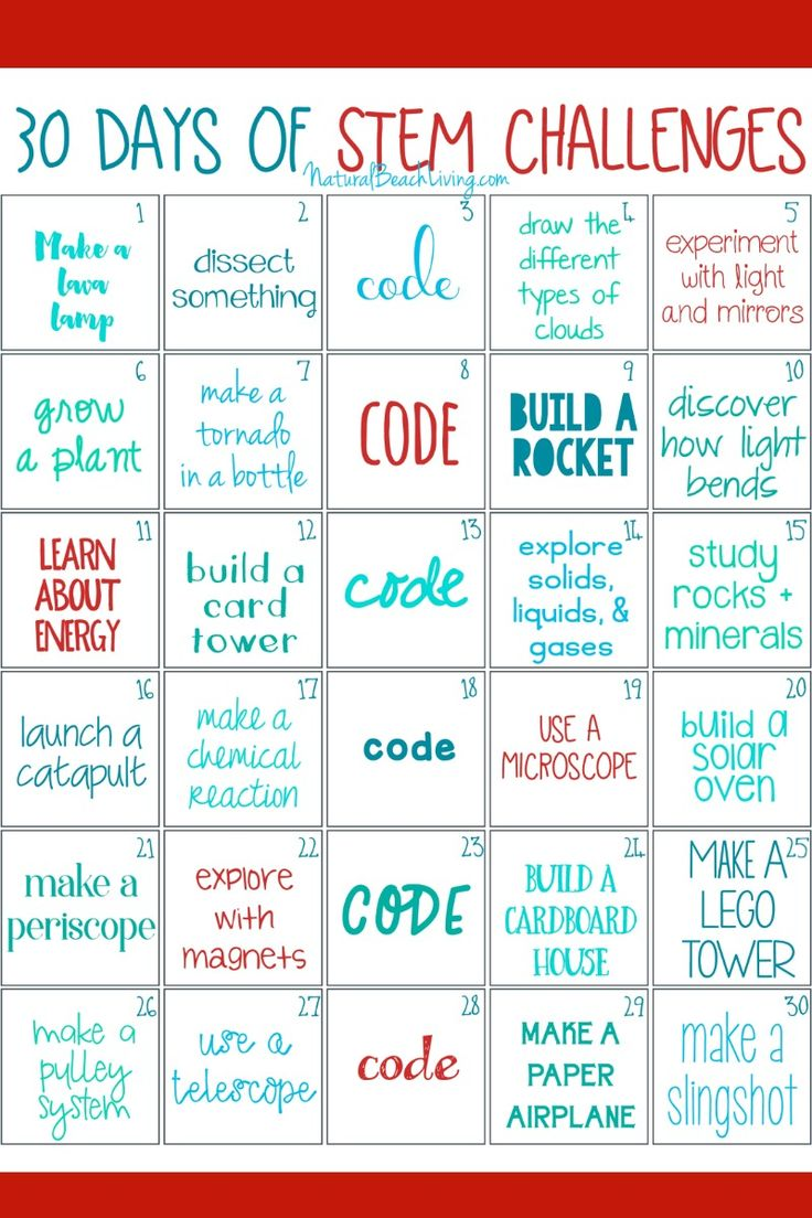30 days of STEM Activities, STEM Challenges for Kids, Printable STEM activities for kids, STEM activities preschool, STEM Activities Elementary, Simple STEM