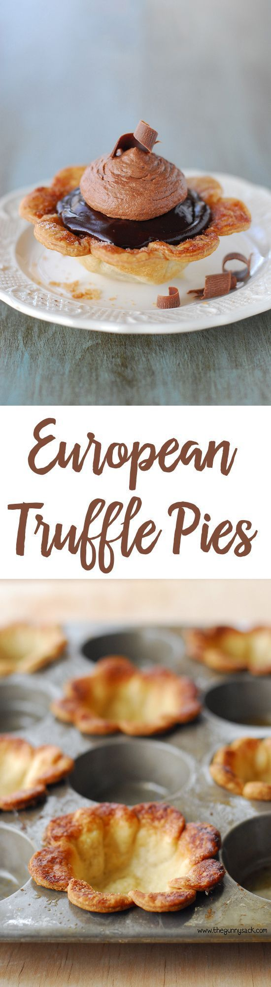 European Truffle Pies are mini pies with triple the chocolate! This chocolate pie recipe is perfect for the chocolate lovers in your life. Make them for your loved ones for Valentine's Day!