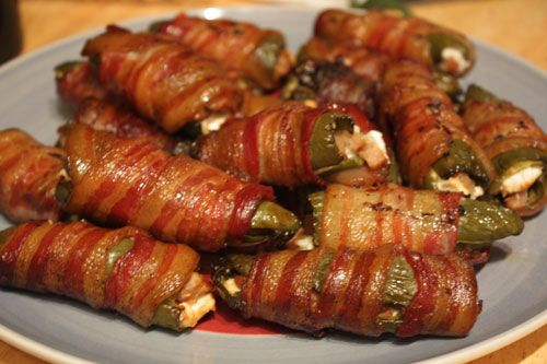 Grasshoppers ( cream cheese, sausage stuffed jalepenos wrapped with bacon), or in this case theya re called Atomic Buffalo Turds...lol.  The guy I repinned this from called these ATOMIC BUFFALO TURDS!!! :D