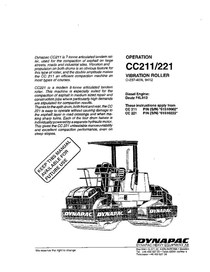 Dynapac Cc 211 221 Op Operation And Maintenance Manual Pdf Download In 2020 Operation And Maintenance Repair Manuals Manual