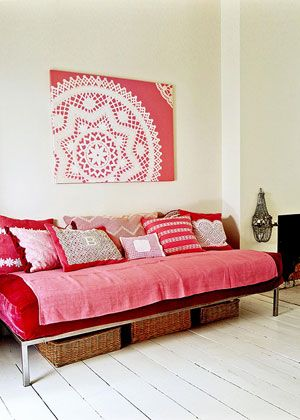 white floor, colourful matching sofa and wall art: Living Rooms, Wall Hanging, Vintage Lace, Diy Wall Art, Doilies Art, Studios Couch, Daybeds, White Wall,  Day Beds