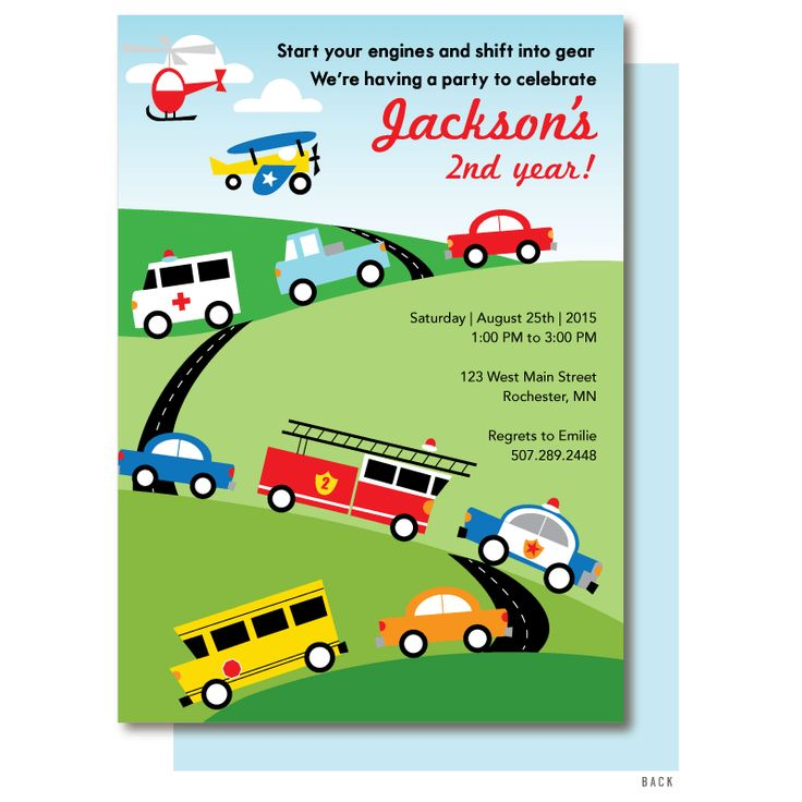 Transportation birthday invitation with assorted trucks, cars and emergency vehicles racing down hills.