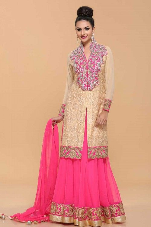 Beige With Pink Lengha Choli Suit Price:£99 Beautiful lenhga Choli suit. Long net jacket with allover resham work, neckline with resham, zircon, crystal & zari work. Net lengha with zari work border. Net dupatta.  http://www.andaazfashion.co.uk/womens/lehenga-choli/beige-with-pink-lengha-suit-1675.html