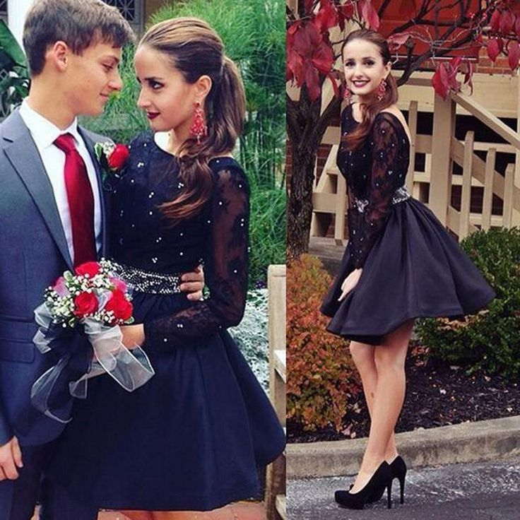 Sexy Black Lace Cocktail Dresses Robe De Cocktail Long Sleeves Prom Gowns Short Formal Party Dress Crystal Vestidos De Coctel
