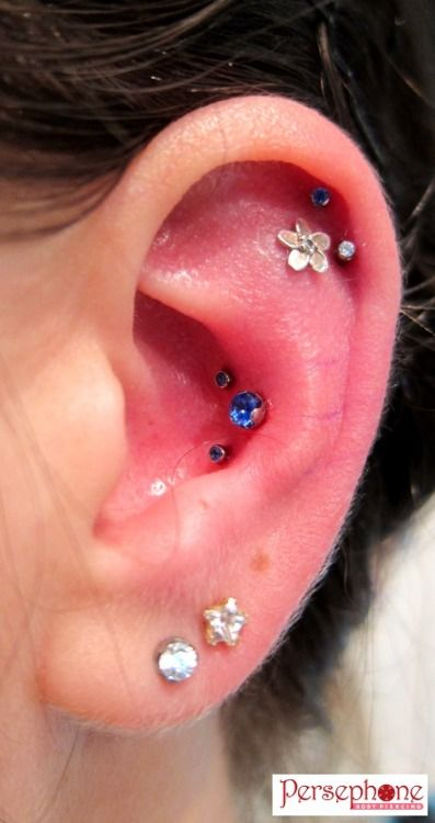 This is a fresh triple conch piercing I just did on one of my favourite clients!