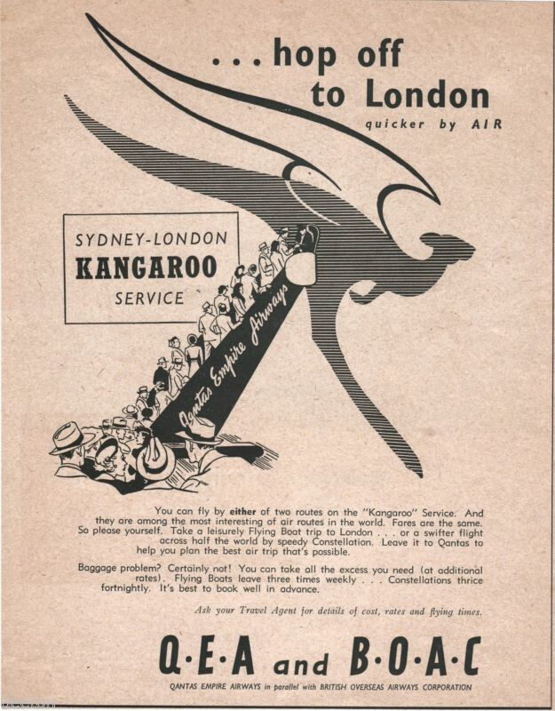 Qantas / BOAC Kangaroo Route Advert 1948