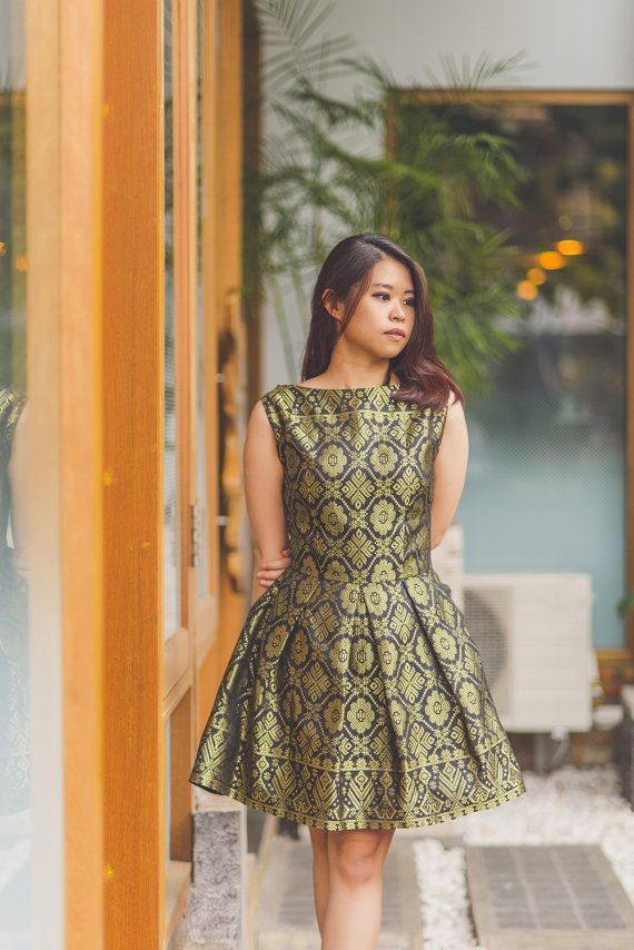 Urbanesia - Crinoline silhouette dress in Traditional Indonesian Songket Fabric by Medan-based Etsy shop SheerssFashion, $59.00 Seller says this garment was inspired by Borobudur.
