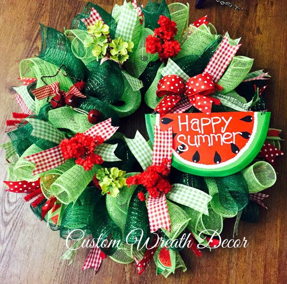 Watermelon Wreath, Summer Wreath, Happy Summer, Deco Mesh Wreath