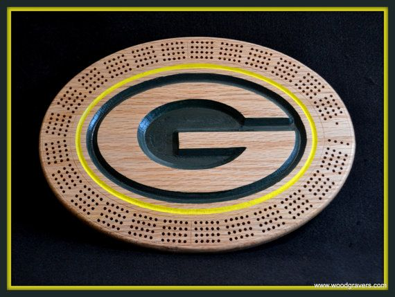 Green Bay Packers Cribbage Board by Woodgravers on Etsy