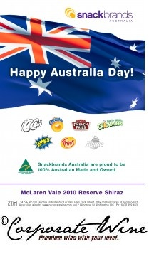 Many well known Australian products can be seen on this Custom Designed Label, made for Australia Day wine gifts from a food business to their valued suppliers and retailers.