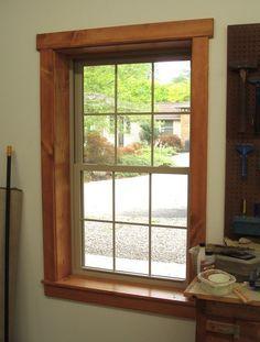 Image result for pine trim vinyl windows
