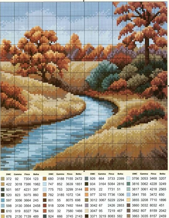 Resultado de imagen para paisajes  de otoño en punto cruz patrones