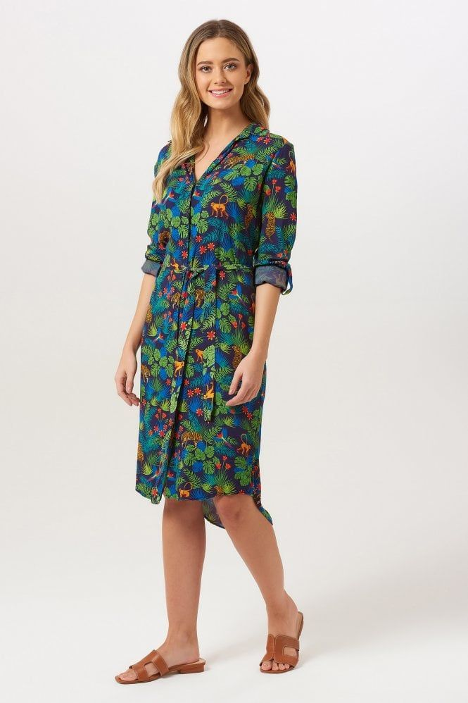636e82f6779 Reva Jungle Shirt Dress Retro Dress, Animal Prints, Brighton, Florals, Cold  Shoulder
