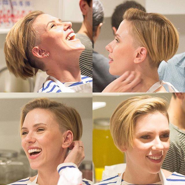 Guess who has an undercut again?? Do you ❤️it?!?! #scarlettjohansson #haircut #hairstyle #haircolor #undercut #pixiecut #shorthair #bobhaircut #bobcut #shaved #buzzcut