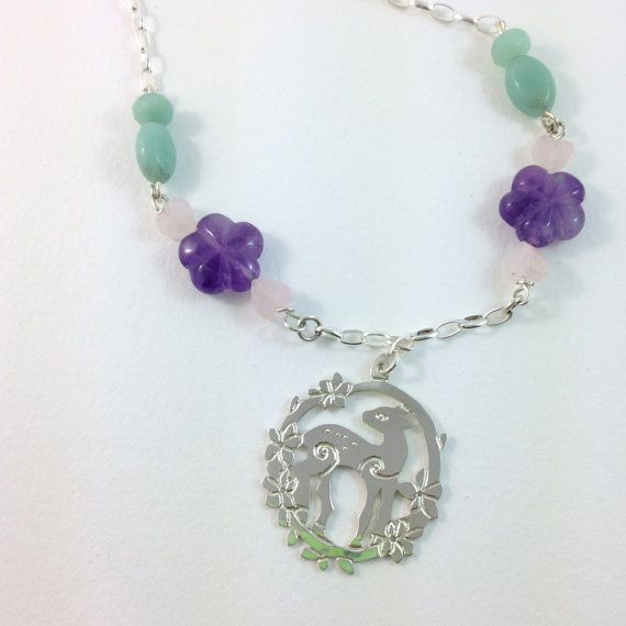 Silver Doe and flower necklace amethyst by MapleflyDesign on Etsy
