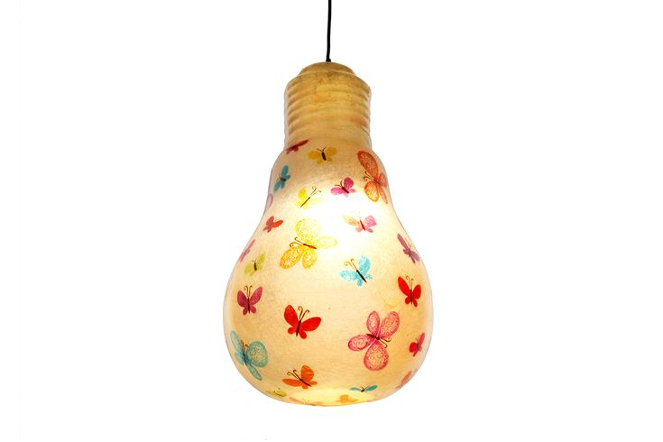Butterflies Lightbulb - hanging lamp  Hanging lamp made of fiberglass, in the shape of a light bulb  Fiberglass material is robust and lightweight  Dimensions: 52 x 30 cm  The background color of this lamp is Natural White