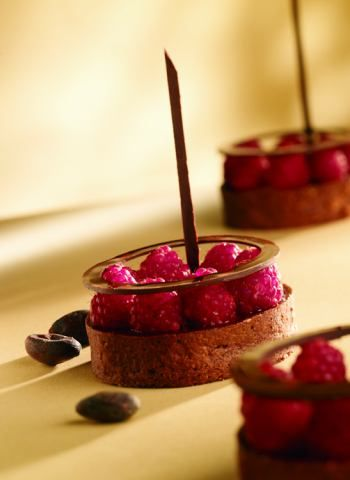 Raspberry Choc. Mousse (here, filling for a tart). Make an anglaise from raspberry pulp, cream, milk, sugar and egg yolks. Off heat combine with dark choc.