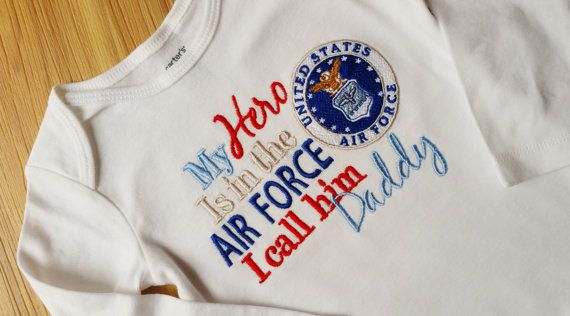 My Hero is in the Air Force I call him/her Daddy/Mommy Shirt Onesie Army Navy Air Force Coast Guard Marines and Reserves Any Military Branch